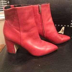 Sam Edelman Hilty Bootie, Red Leather, size 7.5